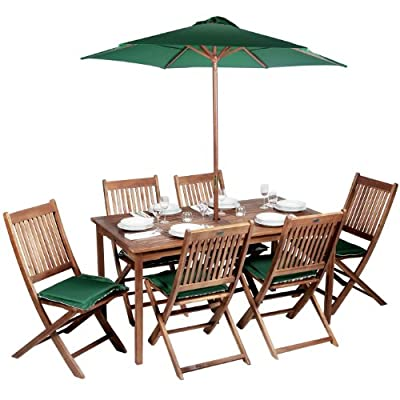 Hampton Fixed Rectangular 6 Seater Dining Set - Beige Wood Garden Furniture Set - 6 Seater Dining Set - Outdoor Patio Table and Chair Set