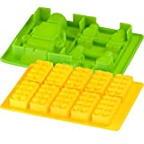 Kitchim Mega Brick Candy Mold and Ice Cube Tray - Lego Figures + Bricks - Two Pack - Silicone
