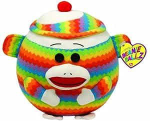 Ty Beanie Ballz Sock Monkey Rainbow - Large
