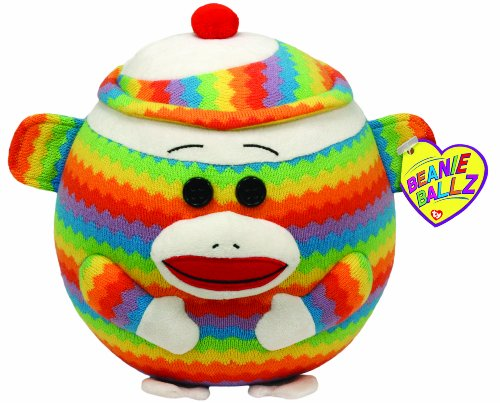 Ty Beanie Ballz Sock Monkey Rainbow - Large front-670606