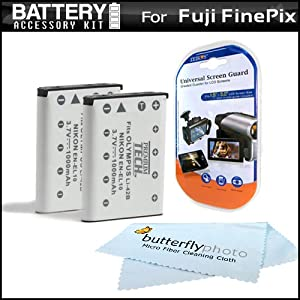 2 Pack Battery Kit For Fuji Fujifilm FinePix Z900EXR, JX370, Z70, Z90, XP20, XP30, XP10, XP50, Z100EXR, Z110EXR, T400, T350, JZ250, JZ100, JX580, JX550, JX520, JX500 Camera Includes 2 Extended (1100 Mah) Replacement For Fuji NP-45A Battery + MORE