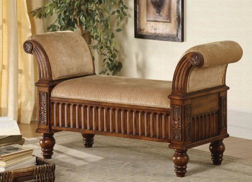 bench-with-carved-detail-in-beige-fabric-and-brown-finish