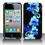 Premium - Apple iPhone 4 Blue Flower Cover - Faceplate - Case - Snap On - Perfect Fit Guaranteed