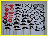 BECUTE 38pcs Mustache Photo Booth Props with Wooden Stick for Wedding Birthday Party Christmas Fun Favor Decoration