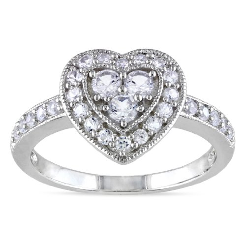 Sterling Silver Created White Sapphire Heart Ring, Size 7
