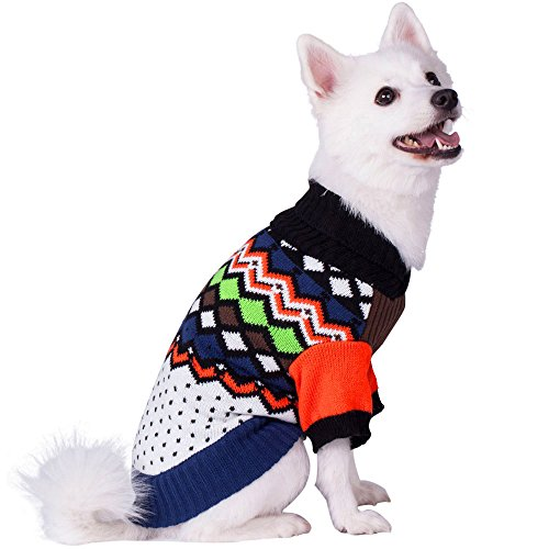 Blueberry Pet Over the Rainbow Multicolor Argyle Pattern Shawl Collar Dog Sweater, Back Length 10