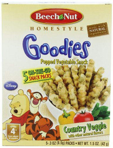Beech-Nut Goodies Popped Vegetable Snack, Country Veggie, 1.5 Ounce (Pack of 6)