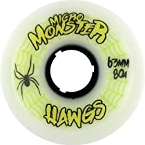 Hawgs Micro Monster White Skateboard Wheels - 63mm 80a (Set of 4)
