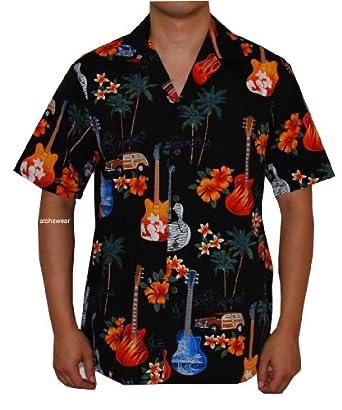 Island Guitars Hawaiian Aloha Shirt, S, Black