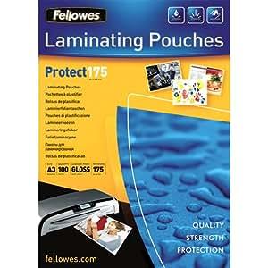 Fellowes Protect 175 microns A3 5308803 pochettes de plastification brillantes pack de 100 Transparent