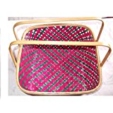 R.K.International Bamboo Basket With Handle (Pink And Bottle Green)
