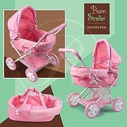 Rosalina Pink Doll Pram Stroller MG9369