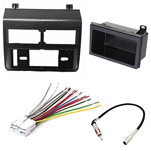 CAR STEREO RADIO DASH INSTALLATION MOUNTING KIT+ ADD ON STORAGE POCKET+ WIRING HARNESS + RADIO ANTENNA ADAPTER FOR SELECT CHEVROLET AND GMC VEHICLES (Car Add On Wiring compare prices)