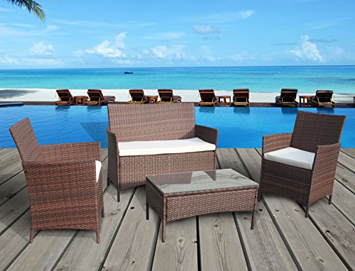 The French Riviera Collection - 4 Pc Outdoor Rattan Wicker Sofa Patio Furniture Set. Choice of Set & Cushion Color (Mixed Brown / Ivory Cushions)