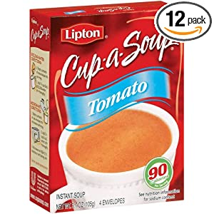 Lipton Cup-A-Soup Tomato, 4-Count Pouches per Box (Pack of 12)