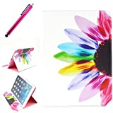 iPad AIR 2 Case, JCmax Protective Cover New Colorful Premium Flip Folio Style Foldable Side [Card Slots] [Durable Cover] [Kickstand Function] PU Leather Wallet Case Cover Smart Skin For AppleiPad Air 2 (iPad 6, 6th Generation released 2014), Come with one free Stylus -[Floral Pattern]