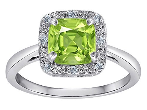 Classic Cushion Cut Designer Peridot Ring 10k