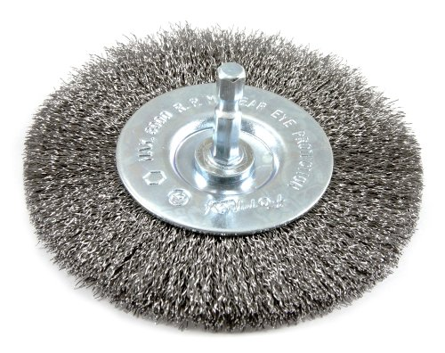 Forney-72740-Wire-Wheel-Brush-Fine-Crimped-with-14-Inch-Hex-Shank-4-Inch-by-008-Inch