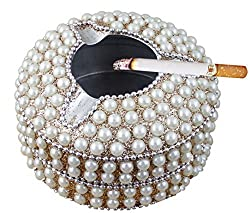 Handcrafted Beaded White Gold Round Ashtray with 3 Cigarette Slots - Ashtray for indoor and Outdoor