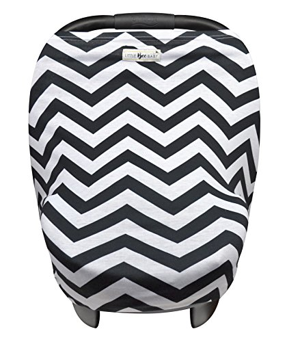 Baby Car Seat Cover Canopy and Nursing Cover Multi-Use Stretchy 5 in 1 Gift (Chevron) by Little Bee Baby