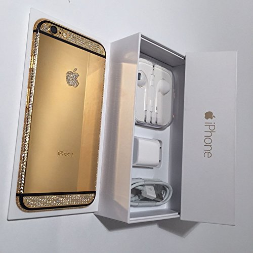 BS2U discount duty free Apple iPhone 6 - 64GB 24K Gold and Black Plated Diamond Crystals Customized Phone/Factory Unlocked/International