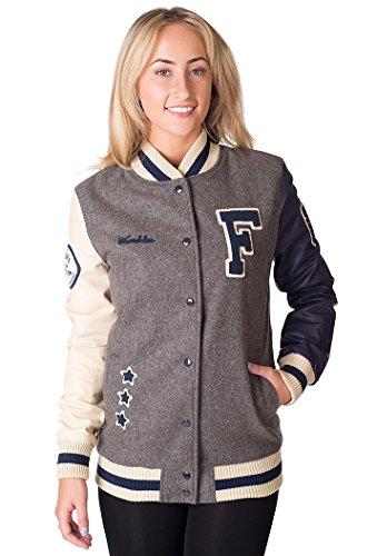 Franklin & Marshall da donna oversize Varsity Jacket, Grigio Melange grigio Large