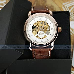 Luxury Gift Rose Gold Bezel Skeleton Automatic Mechanical Men Suit Wrist Watch Bargain!!!