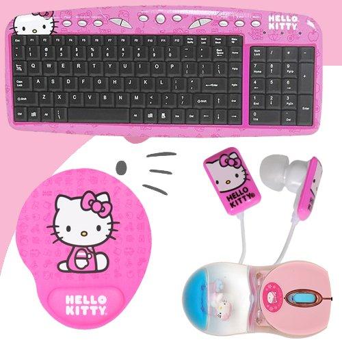 with Hot Keys #90309K (Pink) + Hello Kitty Bathtub Liquid Mouse #81409