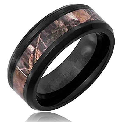 King Will Mens Black Tungsten Carbide Ring Camo Camouflage Comfort Fit Band