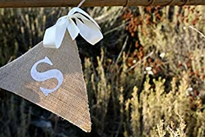 GIFTS Rustic Burlap Banner Sign for Weddings, Baby Showers, Birthdays from Bleubird