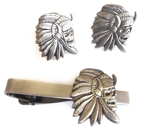 Indian Chief Skull Skeleton Biker Motorcycle TIE BAR CLIP CUFFLINKS SET