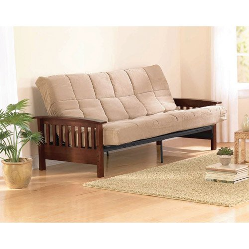 Lowest Price! Mission Wood Arm Futon, Heirloom Cherry, Solid Wood Arms, Converts to fullsize bed