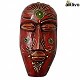 Artlivo Bold Red Wooden Decorative Wall Hanging Mask for Home Decor Wall Decor