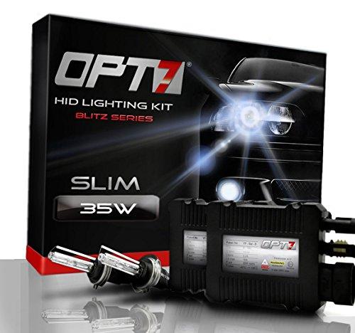 Opt7® Blitz Slim Hid Xenon Conversion Kit W/ Relay Harness & Capacitors - 2 Year Warranty - H11 (8000K, Ice Blue)