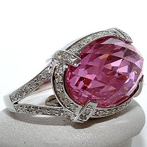 Real Diamond and Pink Quartz Vintage Ring 0.35ct White Gold Gemstone 9mm big