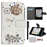 Xhorizon TM FLK Fashion Deluxe Leather Bling Crystal Shiny Rhienstone Crown Butterfly Wallet Credit Card Holder Stand Case Cover for LG Optimus L5 E610 E612 with A Stylus/A cleaning cloth/A Dust-proof plug