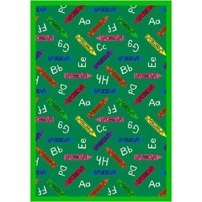 "Joy Carpets Playful Patterns Children's Crayons Area Rug, Green, 7'8"" x 10'9"""