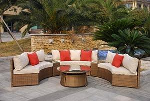 Superb Casamore Rio 6 Seater Half Moon Sofa Set In Bronze