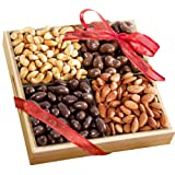 Golden State Fruit Savory and Chocolate Covered Nuts Gift Tray, 2.5 Pound