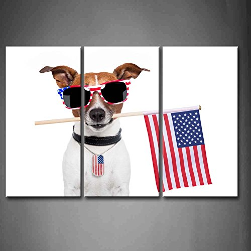 3 Panel Wall Art American Dog Bite American Flag With Sunglasses Painting Pictures Print On Canvas Animal The Picture For Home Modern Decoration Piece (Stretched By Wooden Frame,Ready To Hang)