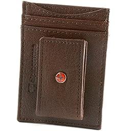 Alpine Swiss Mens Wallet Leather Money Clip Thin Slim Front Pocket Wallet Antique BRN