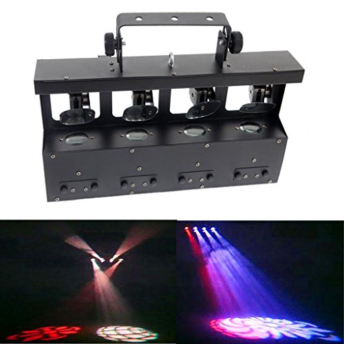 Yiscortm Stage Lighting Led Light Rgbw 4In1 Moving Head 4 Lens 12W Cree Quad Gobo Dmx512 For Home Garden Birthday Party Christmas Xmas Dj Disco Club Stage Effect