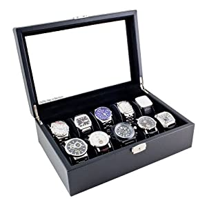 Carbon Fiber Pattern Glass Top Watch Case Display Storage Watch Box Holds 10 Watches With Removable Pillows And High Clearance For Large Watches