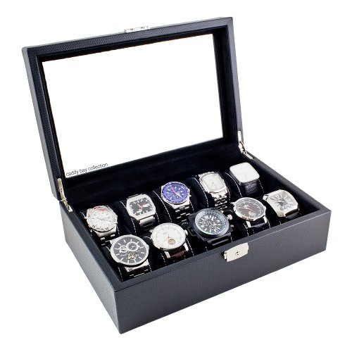 Carbon Fiber Pattern Glass Top Watch Case Display