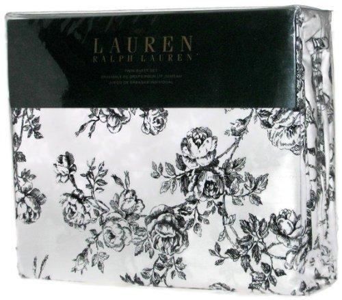 Lauren Ralph Lauren Twin Sheet Set Black White Toile Roses Floral front-1047105