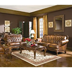 3 piece living room sets on Com  Valencia 3 Piece Leather Living Room Set  Furniture   Decor