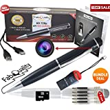 FabQuality Special Offer 1 DAY ONLY Hidden Camera Spy Pen 720p BUNDLE 16GB SD, Real HD Voice Video & Image + SD Reader + Upgraded Battery + 5 ink Fills Inc! Executive Multifunction DVR A Perfect Gift