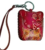 A Pink Rat Design, Unique Handmade Real Leather Coin Purse W/wristlet Strap. Lovely !