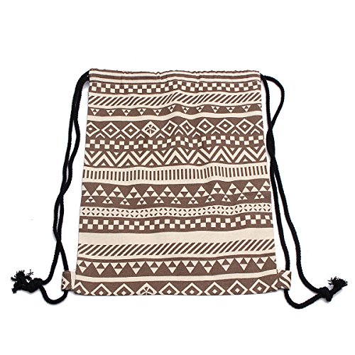 KING DO WAY Donna Borsa Etnico Tela Viaggio Coulisse Zaino Shopping Borsetta Backpack Shoulder Bag Sacca Sportiva da Palestra Borsa Gymbag Marrone Cinghia della spalla: 52cm-77cm