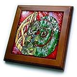 Lee Hiller Designs Tiki Print - New Zealand Maori inspired Tiki Fern Art Print - 8x8 Framed Tile (ft_61516_1)